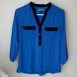 CYNTHIA ROWLEY Blue/Black 3/4 Sleeve Blouse Top XS